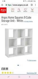White cube storage unit with 4 pack of grey boxes