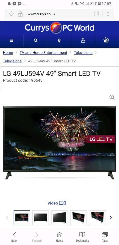 49 in lg smart tv, less than a year old