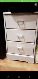 Free 3 door white bedside table