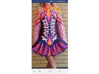 Stunning Hot pink, orange on navy satin-Taylor Irish Dancing Dress. Suit tall slim U14-16 £500ono