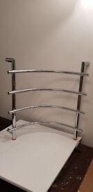 Corner Curved Silver Chrome Towel Rail Bathroom Radiator - New In Box