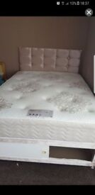 Crushed velvet double bed