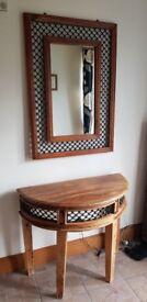Hall table and mirror set