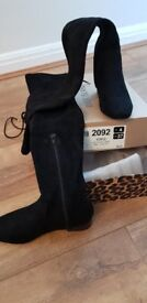 Thigh length suede boots size 4