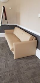 Beige / Cream leather 3 seater sofa and 2 arm chairs