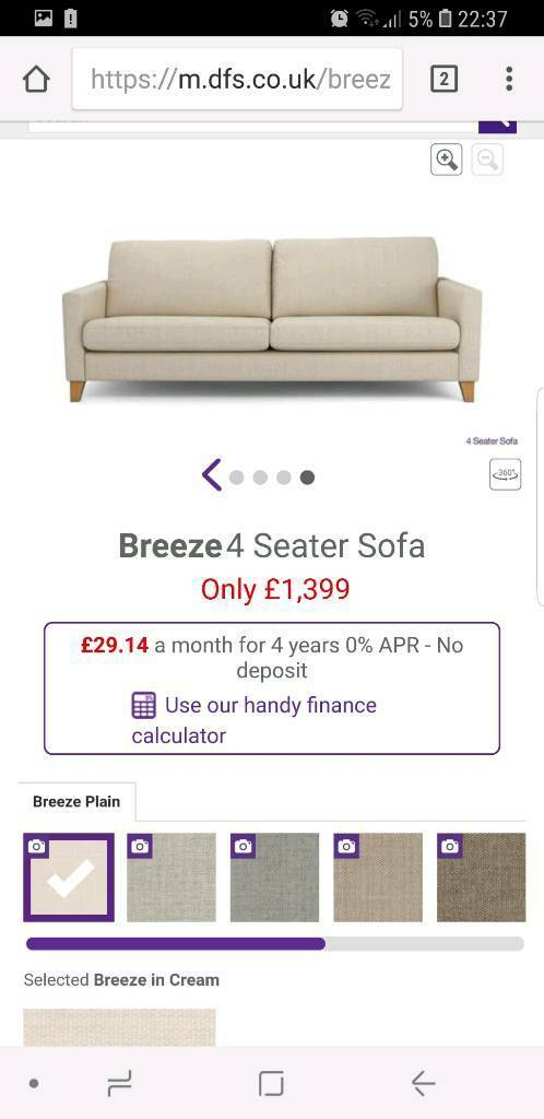 Brand New Dfs Breeze 4 Seater Sofa At A Bargain