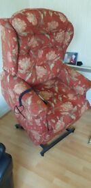 Red patterned electric powered heated recliner armchair