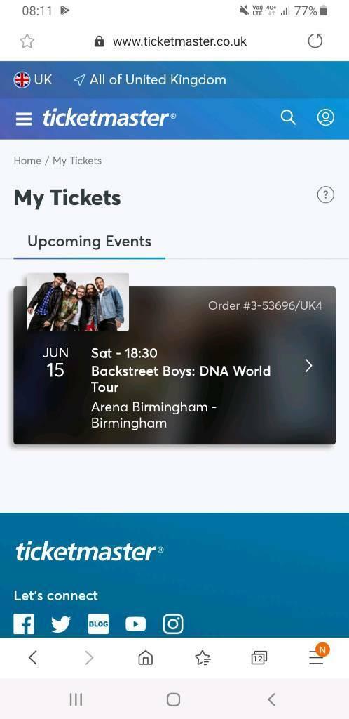 Backstreet boys tickets x3, 2 bk7 row H and 1 block 4 lower R Birmingham  15th june | in Plymouth, Devon | Gumtree