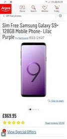 Samsung galaxy s9plus128gb lilac purple bran new seal never used