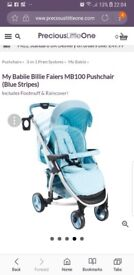 Blue and white stripped my babiee pushchair
