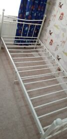 Single metal bed with mattress