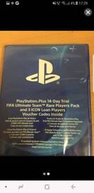 Bundle copy of fifa comes with 14 day psn trial and rare ultimate players team codes