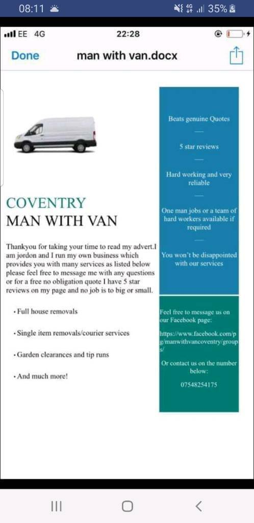 03804ef24c Man with van Coventry