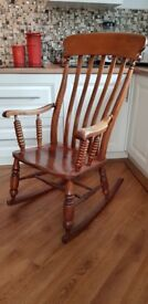 Solid wood vintage rocking chair heavy.