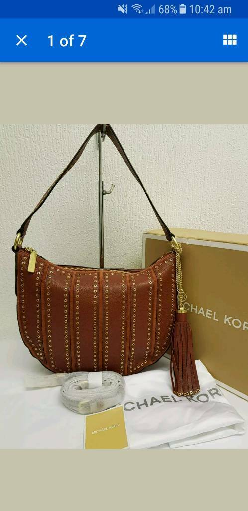5060506011804e NWOT MICHAEL KORS *BROOKLYN* GROMMET MED SHOULDER BAG RRP£430.00💕