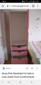 2 x pink wardrobes with 3 drawers from IKEA