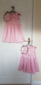Pink Bow Girls Dresses, Age 2-3 with matching flower headbands. Unworn with tags still attached