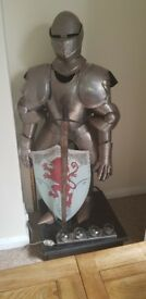 Suit of armour on stand approximately 5ft with sword and shield