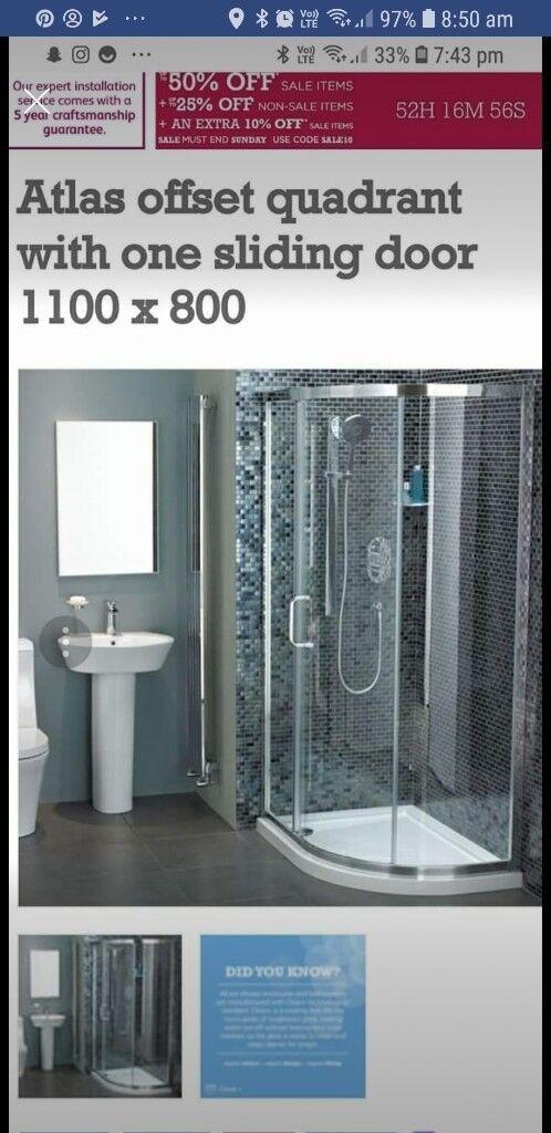BRAND NEW /UNOPEN (Right hand) Sliding glass surround & shower tray ...