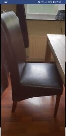 Table and 4 chocolate brown leather chairs