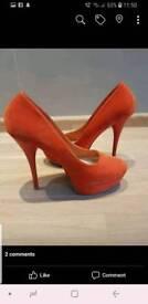 Size 5 orange stilettos