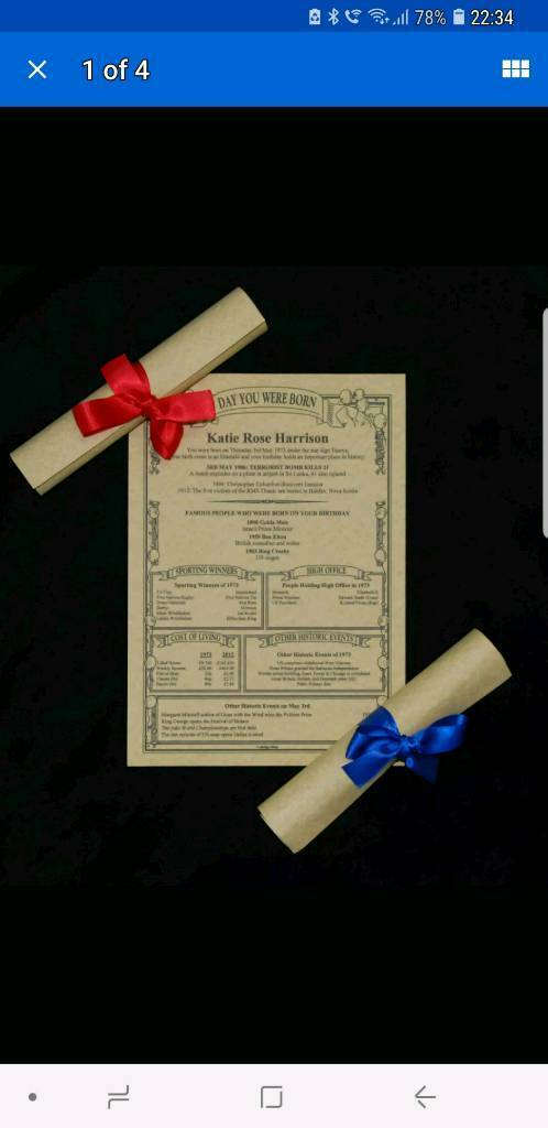 Premium Parchment Scroll 18th 21st 25th 30th 40th 50th 60th 70th 80th 90th Birthday Gift | in Thornton-Cleveleys, Lancashire | Gumtree