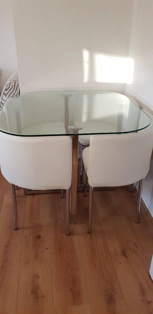 Pleasing Glass Stowaway Dining Table With 4 Chairs In Dulwich London Gumtree Home Interior And Landscaping Ologienasavecom
