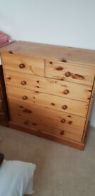 Pine chest of drawers with 6 drawers 35 inches approximately in height and 33.5 in width.