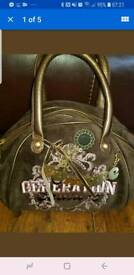 GENUINE JUICY COUTURE Brown Velour Generation Crest Gold Bunting Grab Tote Bag BN