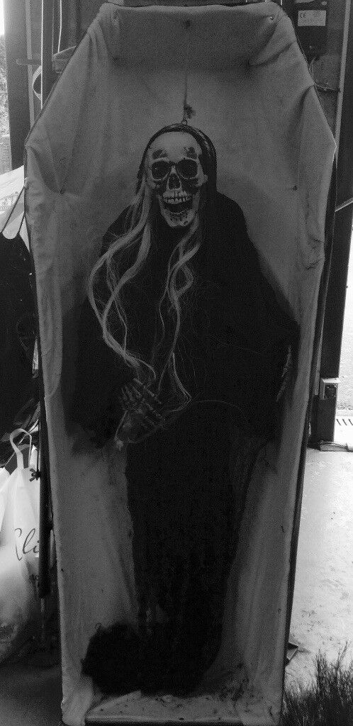 Home made lightweight Halloween Coffin and Skeleton.