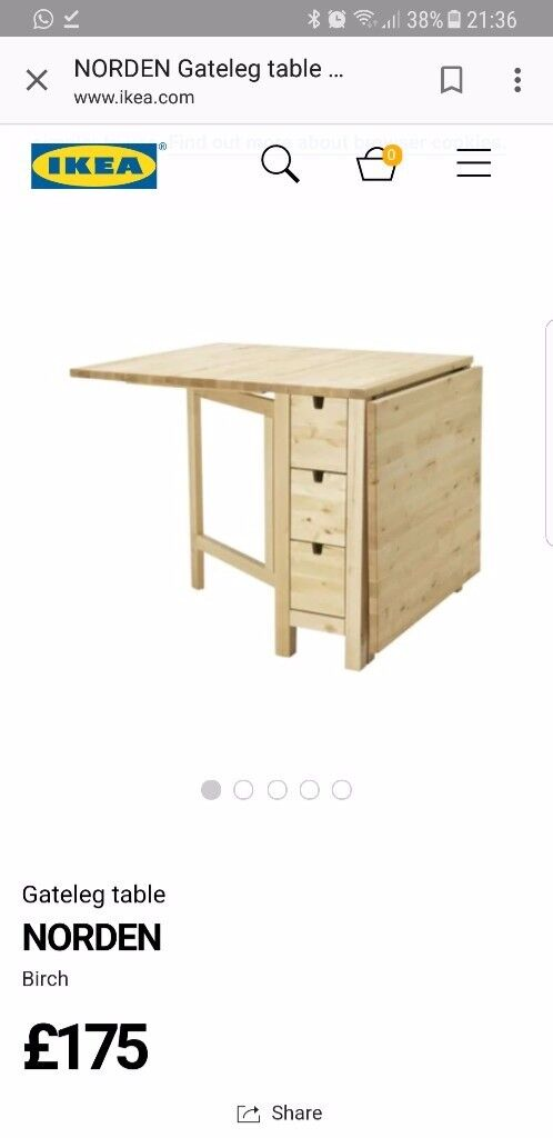 Ikea dining table that folds down, with storage draws and 4 chairs