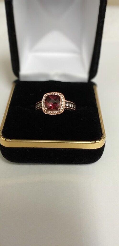 Le Vian 14ct Strawberry Gold 0 33ct Diamond & Rhodolite Garnet Ring | in  Cambridge, Cambridgeshire | Gumtree