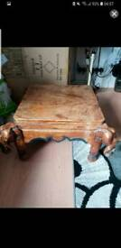 Solid oak hand carved small elephant table