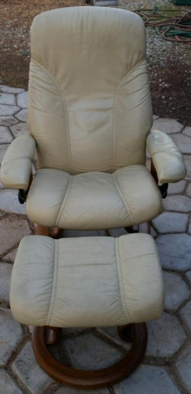 EKORNES Stressless Adjustable Recliner Chair & Ottoman Mid Century True Vintage