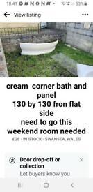 cream corner bath