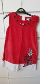 Girls red dress age 4-5, with jewel and sequins, by Uttam Kids