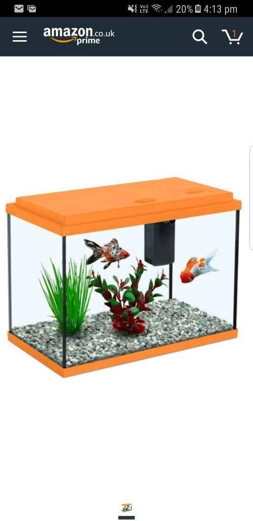 Aquarium Fish Tank - 13 Litres - Orange - 2kg Bag Of Gravel