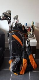 Mens rh golf clubs and stand