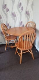 Dining table wood 3 chairs