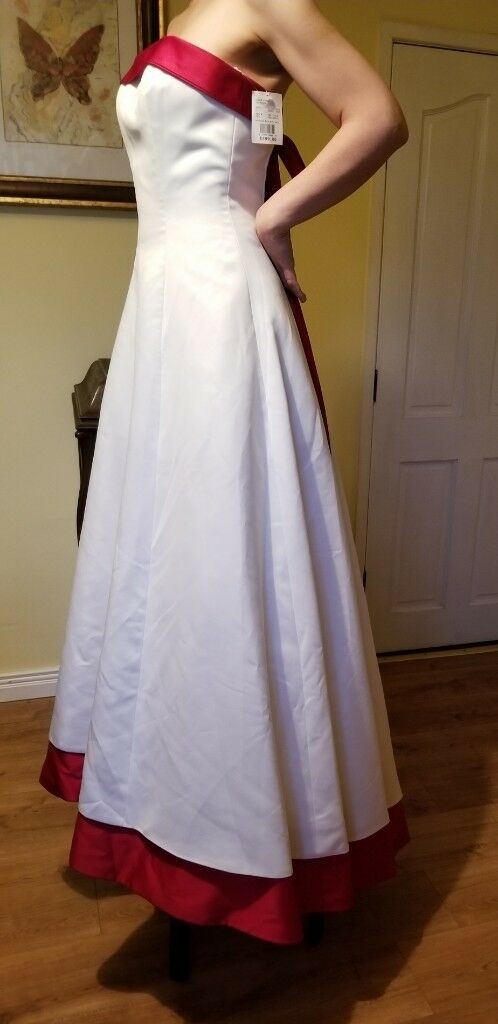 Ivory And Red Wedding Dress Size 8