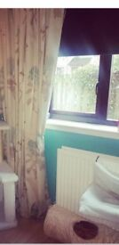 Stunning NEXT cream & teal lined curtains 228cm x 220cm