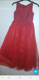 Red girls bridesmaid dress, party dress, occasion dress