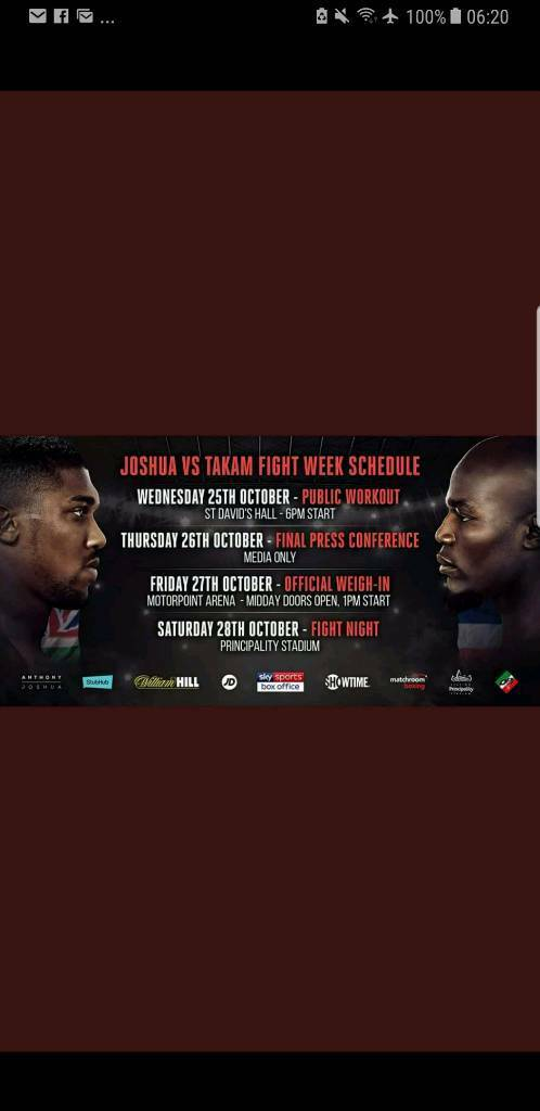 2 Floor Tickets available for Joshua Fight
