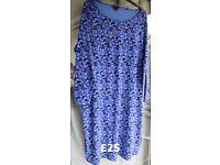Simply Be Blue, Mauve & Black Floral Print Dress Long Sleeves Size 30