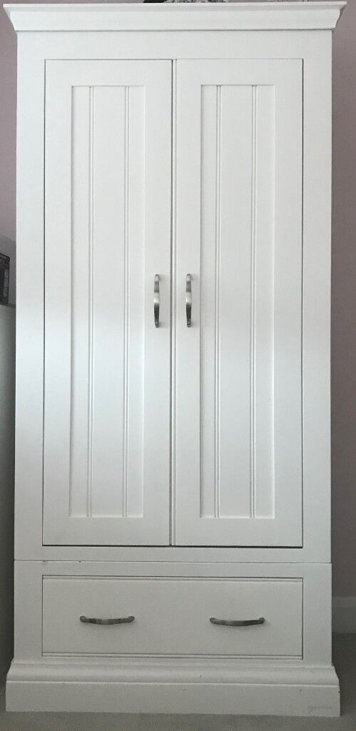 Small Wardrobe With Drawer New England Style In White