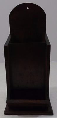 VINTAGE STAINED WOOD FIREPLACE MATCH HOLDER DISPENSER WALL MOUNTED