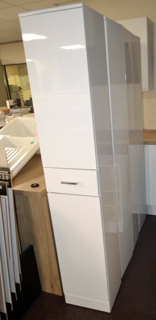 1 X White Gloss Bathroom Tallboy Cabinets. RRP