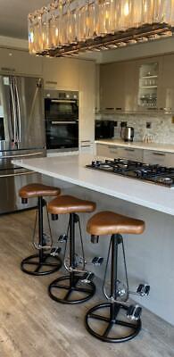 Bicycle Pedal Leather Saddle Stool Breakfast Bar Kitchen Man Cave Retro Vintage