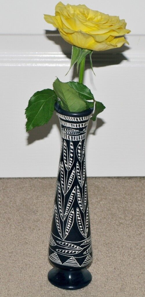 African Hand Craved Soapstone Vase In Strensall North Yorkshire