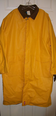 NEW MARLBORO BROWN CANVAS & YELLOW VINYL REVERSIBLE DUSTER TRENCH RAIN COAT XXL